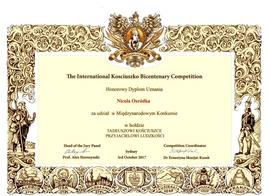 Galeria Australia - Międzynarodowy Konkurs o Kościuszce